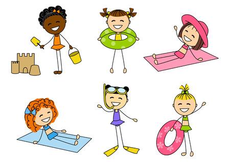 Set of little summer girls Stock Vector - 27338638