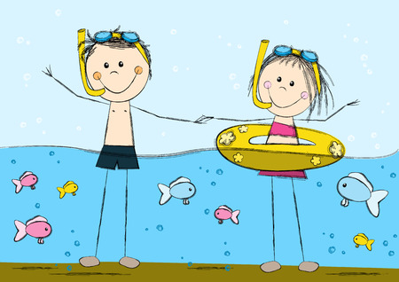 swimming underwater: Cute swimming kids on sea background