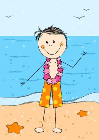 young boy beach: Happy Hawaii boy on sea background