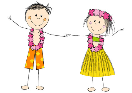 happy couple beach: Happy Hawaii couple isolated on white Illustration