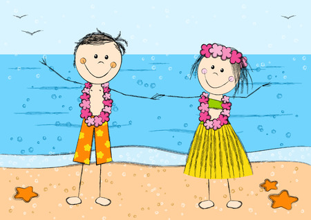 Happy Hawaii couple on sea background Vector