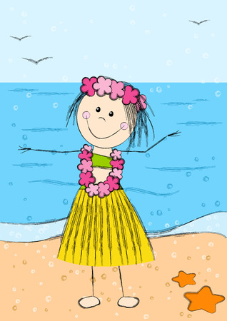 Happy Hawaii girl on sea background Vector