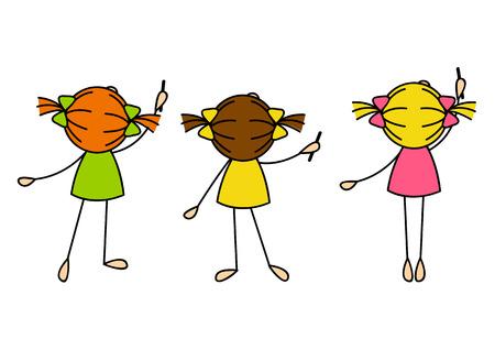 kleine meisjes: Leuke meisjes tekenen iets Stock Illustratie