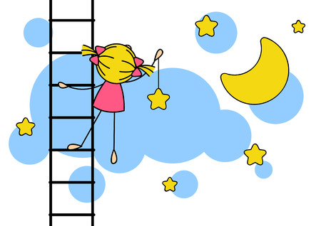 cartoon star: Cute little girl hanging star