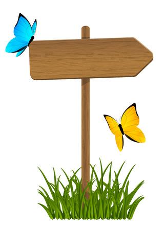 arrow wood: Wooden signpost with green grass and butterflies