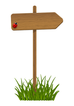 Wooden signpost with green grass Vector