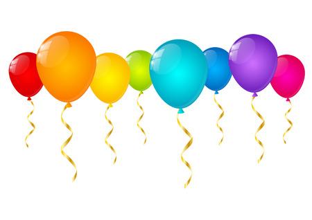 Rainbow balloons isolated on white Vector