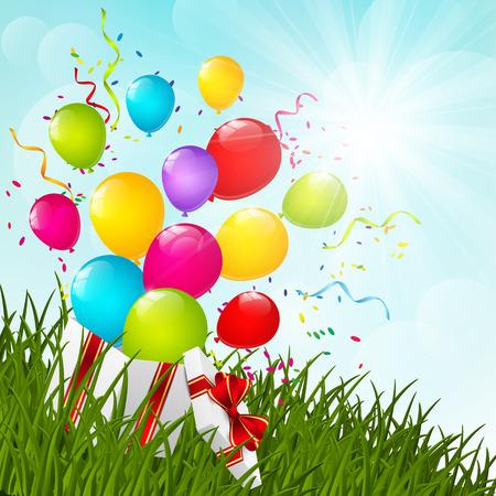 surprise box: Gift box on green grass Illustration