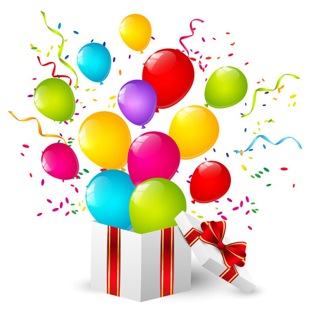 surprise box: Gift box with color balloons
