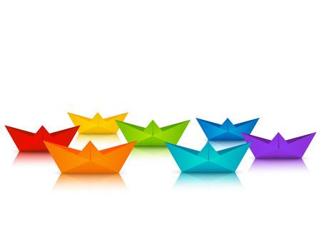 Ensemble de bateaux en papier de couleur