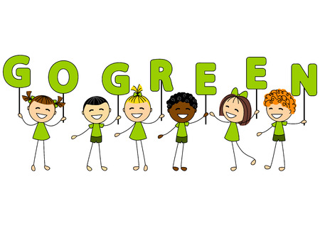 Cute little kids with ecology message Vector