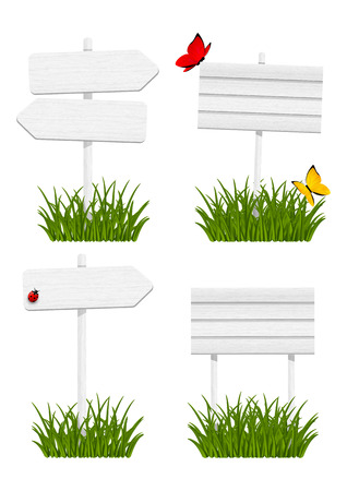 Set of wooden signboards in green grass Illustration