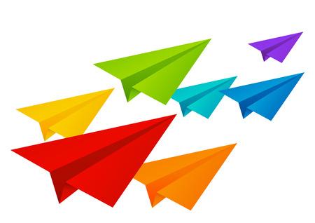 Kleur papier vliegtuigen op wit wordt geïsoleerd Stock Illustratie