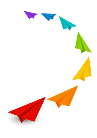 Kleur papier vliegtuigen op wit