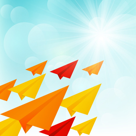 Paper airplanes in sunny sky Vector