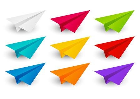 color paper: Conjunto de aviones de papel de color Vectores