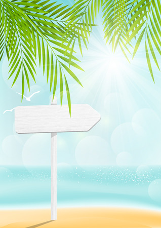 Summer beach background with signboard Vector