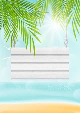 Summer beach background with wooden signboard Vector