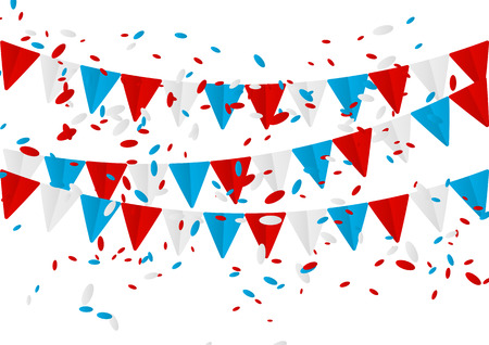 Independence Day flags with confetti Vector