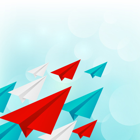 Paper airplanes on blue sky background Vector