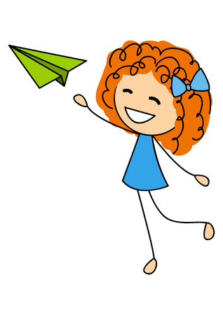 Cute little girl with paper airplane Vector