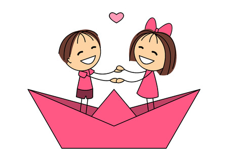 Cute little kids in paper boat Vector