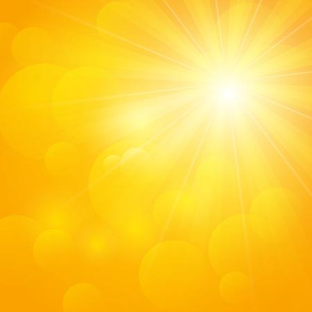morning sunrise: Shiny sun on orange background