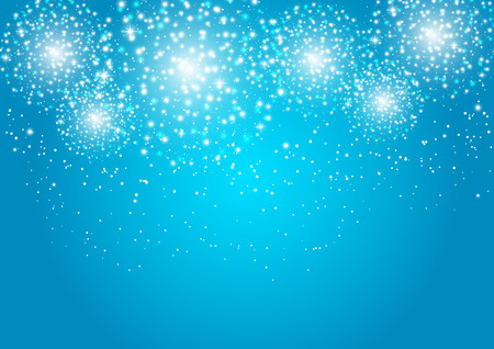 christmas in july: Starry fireworks on blue background