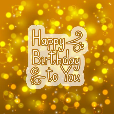 bokeh message: Birthday message on bokeh background Illustration