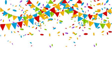 Drapeaux du Parti avec des confettis de couleurs