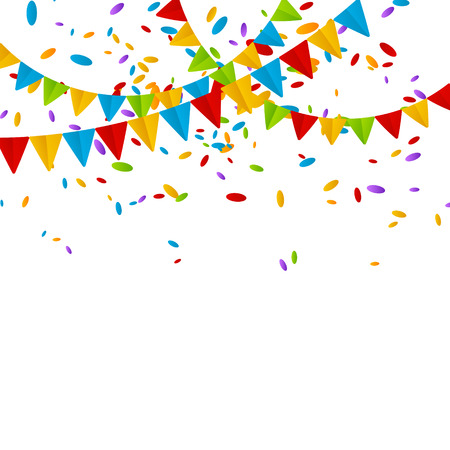 Party flags with color confetti Vector Illustration