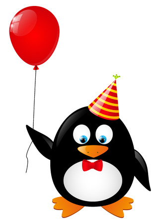 ballon rouge: Pingouin dr�le avec ballon rouge Illustration