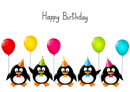 Funny penguins with color balloons Imagens - 28401423
