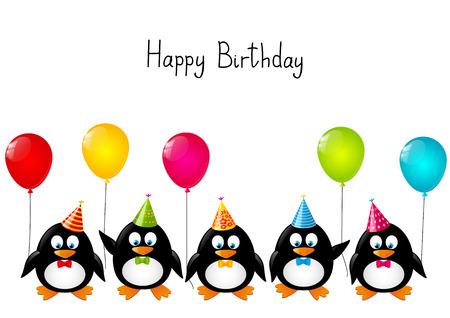 Grappige pinguïns met kleur ballonnen Stock Illustratie