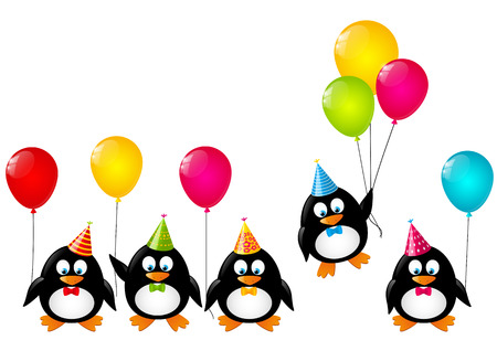 birthday cartoon: Funny penguins with color balloons