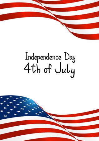 patriotic border: Independence Day card with American flag