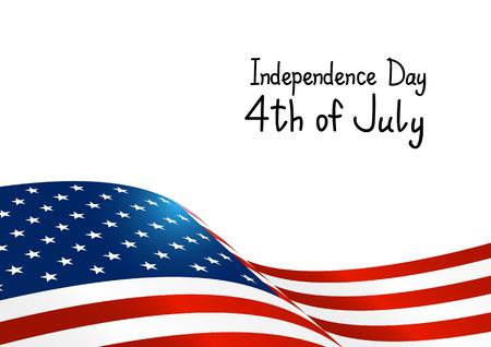 미국 국기와 함께 독립 기념일 카드 일러스트