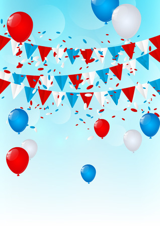 the concept of independence: Independence Day flags with balloons