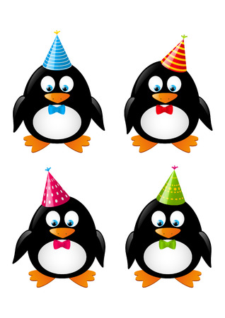 Set of funny penguins with party hats Stock Vector - 28401449
