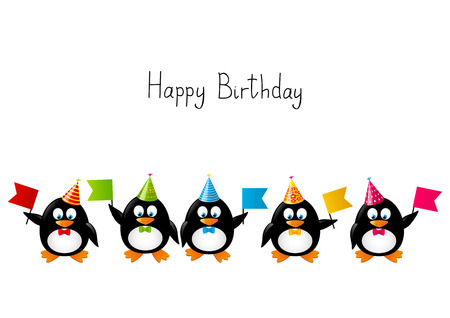 Funny penguins with party flags Vector