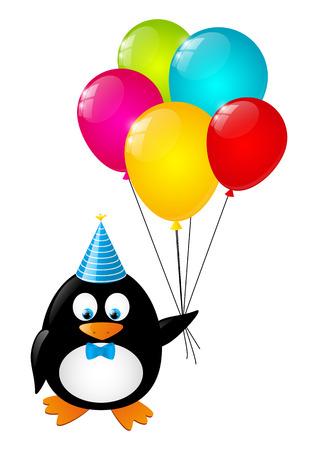 aves caricatura: Pingüino divertido con globos de colores Vectores