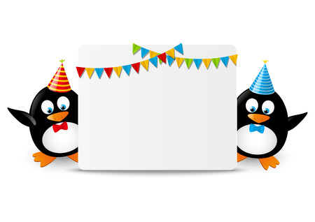 Funny penguins with greeting card Vector