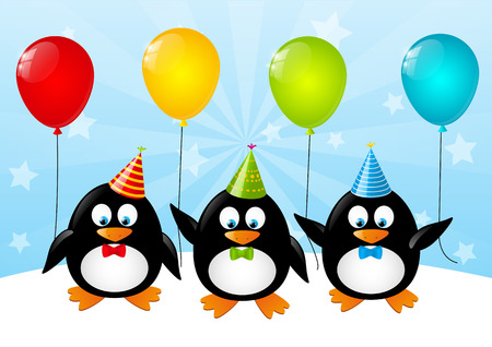 Funny penguins with color balloons Vector