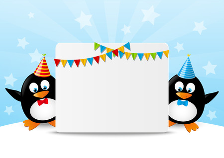 Funny penguins with paper card Stock Vector - 28516458