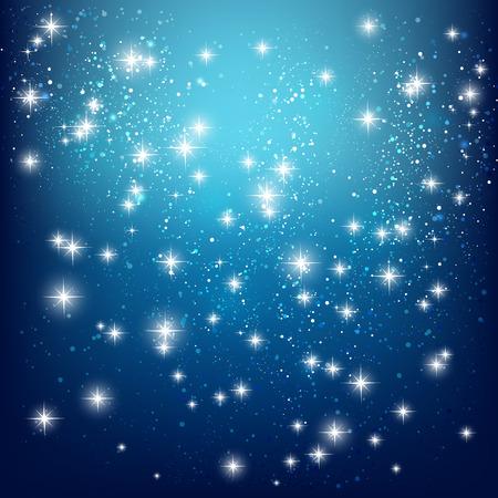cielo estrellado: Brillantes estrellas sobre fondo azul  Vectores