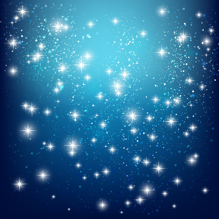 starry sky: Shiny stars on blue background