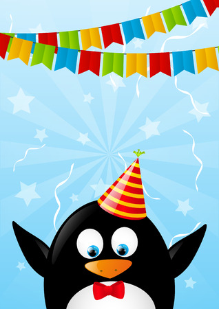 Birthday card with funny penguin Stock Vector - 28516989