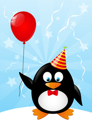 Funny penguin with red balloon Vector