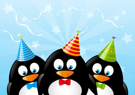 Cute penguins with party hats Vector