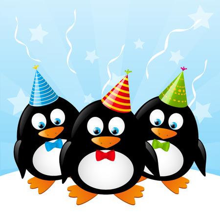 gorros de fiesta: Ping�inos lindos con los sombreros del partido